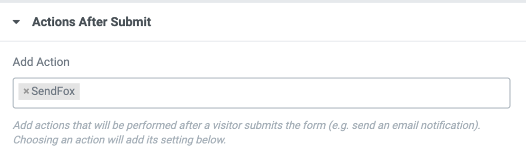 """Picture containing a screenshot of the """"Actions After Submit"""" section on the forms contents."""