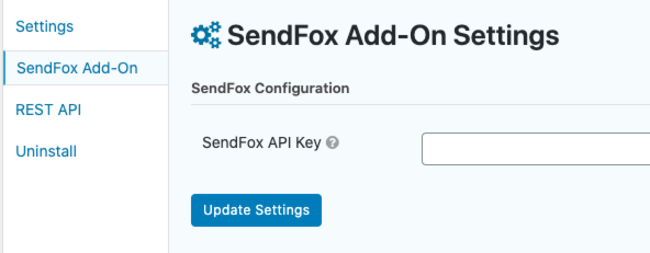 Graphic showing the SendFox Addon settings page within Gravity Forms settings.