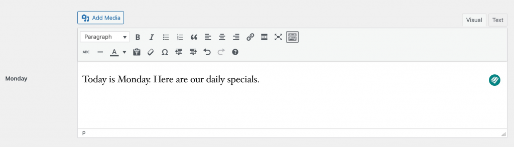 Image showing a day editor window.