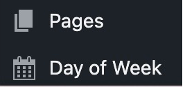 Image showing the WordPress sidebar and the Day of Week text.