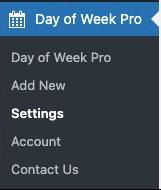 Graphic showing Day of Week Pro in the WordPress menu sidebar.